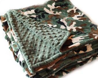 Adult Minky Blanket Green Camo Blanket, Personalized Blanket, Minky Throw blanket, Personalized Gift, Twin Bedding, Kids minky blanket
