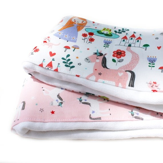 Princess Burp Cloths - Pink Purple Diaper Burp Cloth set of 2 // Baby Shower Gift // Pink Burp Cloth / Unicorn Burp Cloth /Girl Burp Cloths
