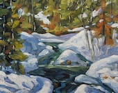 On Sale Spring Run Off - Mini Original Oil Painting - End of winter - Cdn Landscape - created by Prankearts
