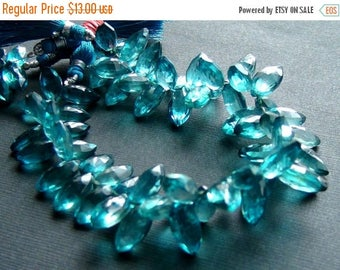 SALE Teal blue quartz faceted marquise briolette