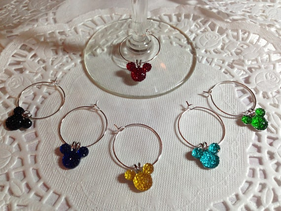 Mouse Ears Wine Charms in Bright Colors Disney Themed Shower Party Wedding Gift Box Included FREE