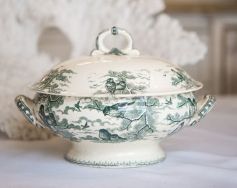 Antique French Sarreguemines Green Transferware Ironstone Tureen w/ Birds