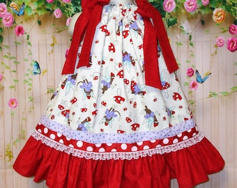 Girls Dress 2T/3T Red White Sock Monkey Pillowcase Dress, Pillow Case Dress, Sundress, Boutique Dress