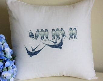 Blue Vintage Birds Linen and Cotton Pillow - Birds on a Wire