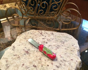 "Christmas Upcycled Granite Cheese Cutting Board - 9 x 9 x 1"" with Holly Cheese Knife #4"