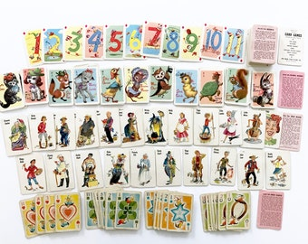 Vintage Children's Card Games, Miniature Size, Hearts, Animal Rummy, Old Maid, Crazy Eights, 180 Playing Cards