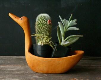 Vintage Carved Bird Planter Bowl Unique Handmade Hand Carved Primitive Style Bird Vintage From Nowvintage on Etsy