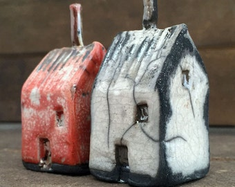 Tiny Red and White Raku Houses - Hand Made Ceramics