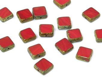 Opaque Red Picasso Czech Glass Beads Fancy Squares 11mm - 15