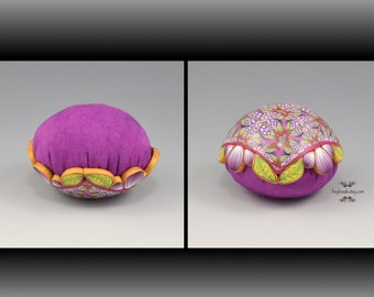 Pincushion, Polymer Clay, Hand-Dyed Cotton, Blackberry Purple, Lime Green