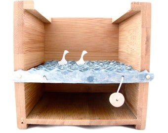 kinetic wooden sculpture, woodland home decor, wood swans automaton, small wood box, unique wedding gift, unique housewarming gift