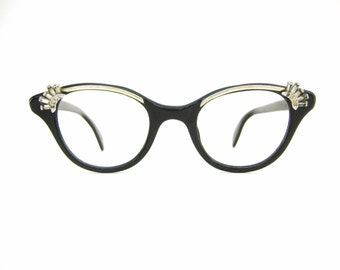 Vintage 40s Black Cat Eye Frame Mid Century Retro Eyeglasses or Sunglasses