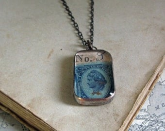 Antique Paper Soldered Glass Long Necklace One of a Kind Jewelry