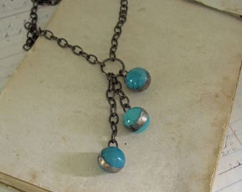 Teal Glass Marble Pendant Long Necklace Soldered Jewelry