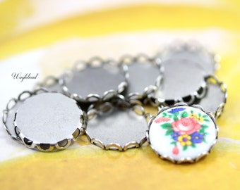 15mm Ox Silver Antique Lace Edge Round Settings - 8