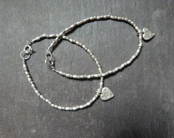 Karen Hill Tribe silver bracelet with heart charm - stacking bracelet - valentines gift - gift for her - UK seller