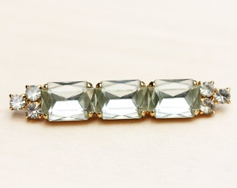 Gold Vintage Crystal Bar Brooch
