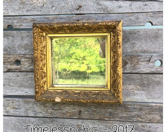 Antique Mirror - Gesso Mirror - Small Mirror - Wall Mirror - Shabby Chic Mirror - Vintage Mirror - Ornate Mirror - Gold Mirror - Mirror