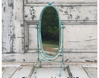 Vanity Mirror - Swivel Mirror - Decorative Mirror - Oval Mirror - Tabletop Mirror - Mirror - Bird Decor - Teal Mirror - Small Mirror - Birds
