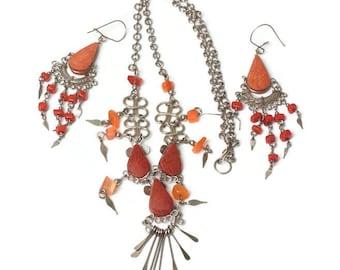 Orange Stone Boho Necklace Earrings Beads Dangles Vintage Tribal Artisan