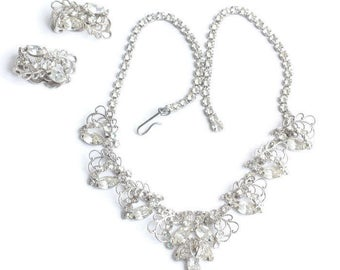 Rhinestone Filigree Necklace Earring Set Wedding Bridal Prom Silver Tone Vintage