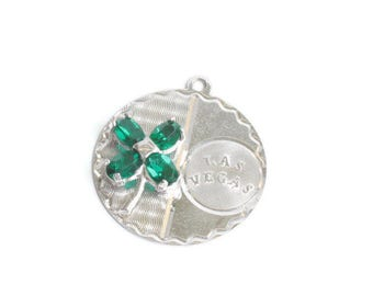 Sterling Las Vegas Charm Green Rhinestone Four Leaf Clover Lucky Charm Vintage