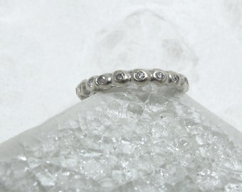 Artisan Crafted Solid 18K White Gold And Diamond Eternity Ring - Size 3 1/2