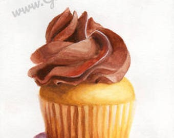 Chocolate Mini Cupcake watercolor original painting