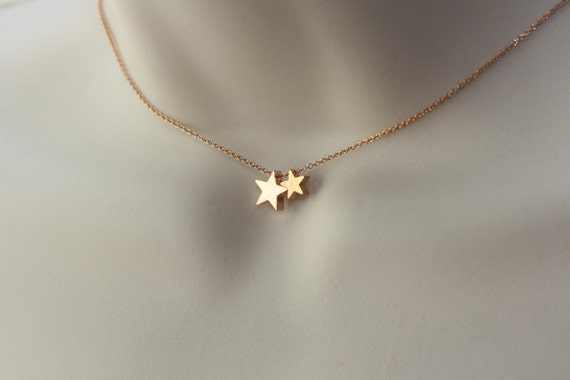 Star Necklace Gold or Rose Gold, Birthday Gift for Wife, Modern Trend, Two Stars Necklace, Women Fashion, Spring Easter Trend, Trending Now