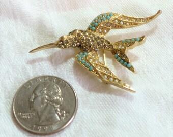 Vintage ART Bird Brooch Seed Pearls Rhinestones Turquoise Beautiful