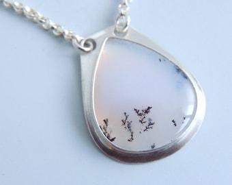 Dendrite Opal Necklace Sterling Silver Bezel Set Pendant