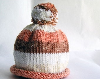 HOLIDAY SALE - Baby Hat Hand Knit Orange & Rust Stripes with Roll Brim and Pom Pom, Great for Photo Props