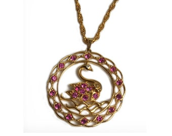 1970s Sarah Coventry Gold Tone with Pink & White Rhinestones Vintage Gold Tone Open Work Swan Swan Lake Pendant