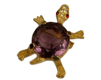 1950s 1960s Gold Tone Faceted Glass Amethyst Jelly Belly Shell Turtle Tortoise Vintage Figural Pin Brooch