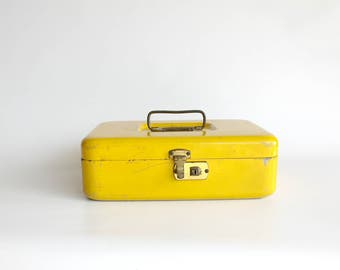 Vintage Yellow Metal Box Industrial Office Decor Card Storage Chippy