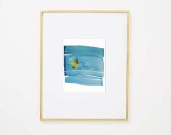 "Minimal Landscape Art on Paper, blue, green, yellow, beige 8 x 10"" original fine art ""Painting 951"" modern contemporary abstract watercolor"