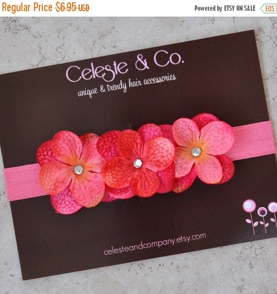 Newborn Headband - Infant Headband - Girls Headband - Flower Headband -  Pink Headband Flowers on Stretch Headband - Photo Props