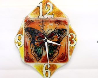 Butterfly Wall Clock, Fused glass art wall hanging orang yellow and white  tons painted Wallclock