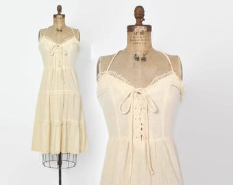 Vintage 70s Sun Dress DRESS / 1970s Boho Ivory Cotton Corset Lace-Up Dress