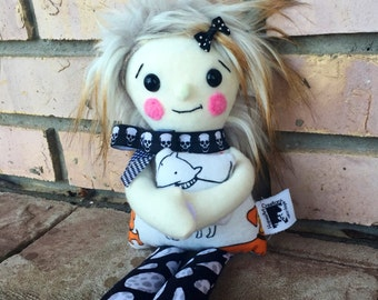 Little Hugs Fleece Dolls. All dogs print plushie. Plush toy holding coordinating mini pillow/toy. Funky grey/tan faux fur hair. Velcro hands