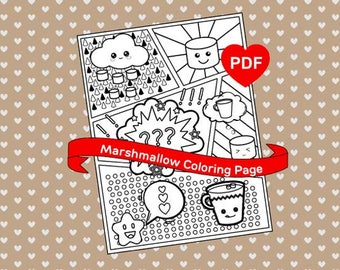 Marshmallow Coloring Page Cute Kawaii PDF Printable