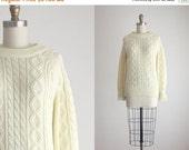BLACK FRIDAY 1970s eggshell fisherman sweater