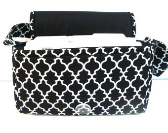 Medium Size Coupon Organizer Holder - Attaches to your shopping cart -Black and White Lattice