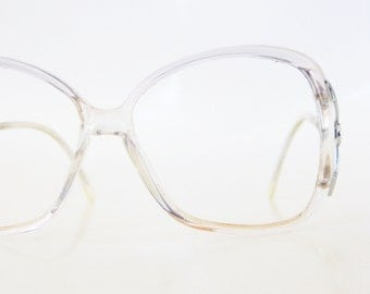 1970s Oversized Boho Clear Glasses Womens Eyeglasses Ladies Optical Frames Light Ice Blue Pastel Bohemian Style Hipster Authentic Vintage