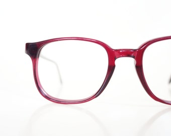 Vintage 1960s Round Dark Red Glasses Burgundy Crimson 60s Mid Century Modern Womens Ladies Sixties Deastock USA Pathaway America