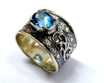 Hippie ring , cubic zirconia ring ,  silver ring  for woman ,  CZ Blue Topaz cubic zirconia bands , bohemian rings