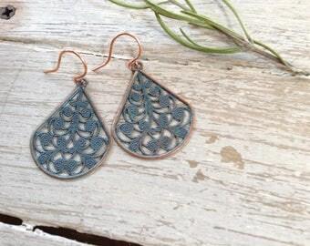 Boho Filigree Patina Copper Dangle Earrings