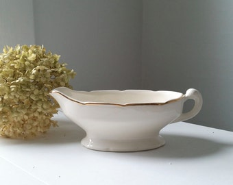 Antique Gravy Boat . White and Gold China . Farmhouse Decor . Tabletop Serving . Wedding Decor . Holiday Table .