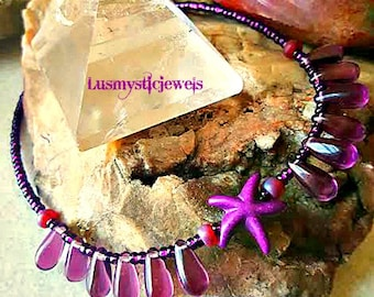 Starfish Purple Anklet Beacelet,Cruise or Resort Wear,Summer,Nautical Anklet Bracelet,Ocean Anklet,Beach Girl,Ready to Ship,Mothers Day Gift
