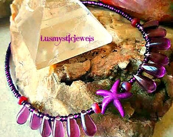 Summer Outdoors,Starfish Purple Anklet Bracelet,Cruise or Resort Wear,Summer,Nautical Anklet Bracelet,Ocean Anklet,Beach Girl,Ready to Ship